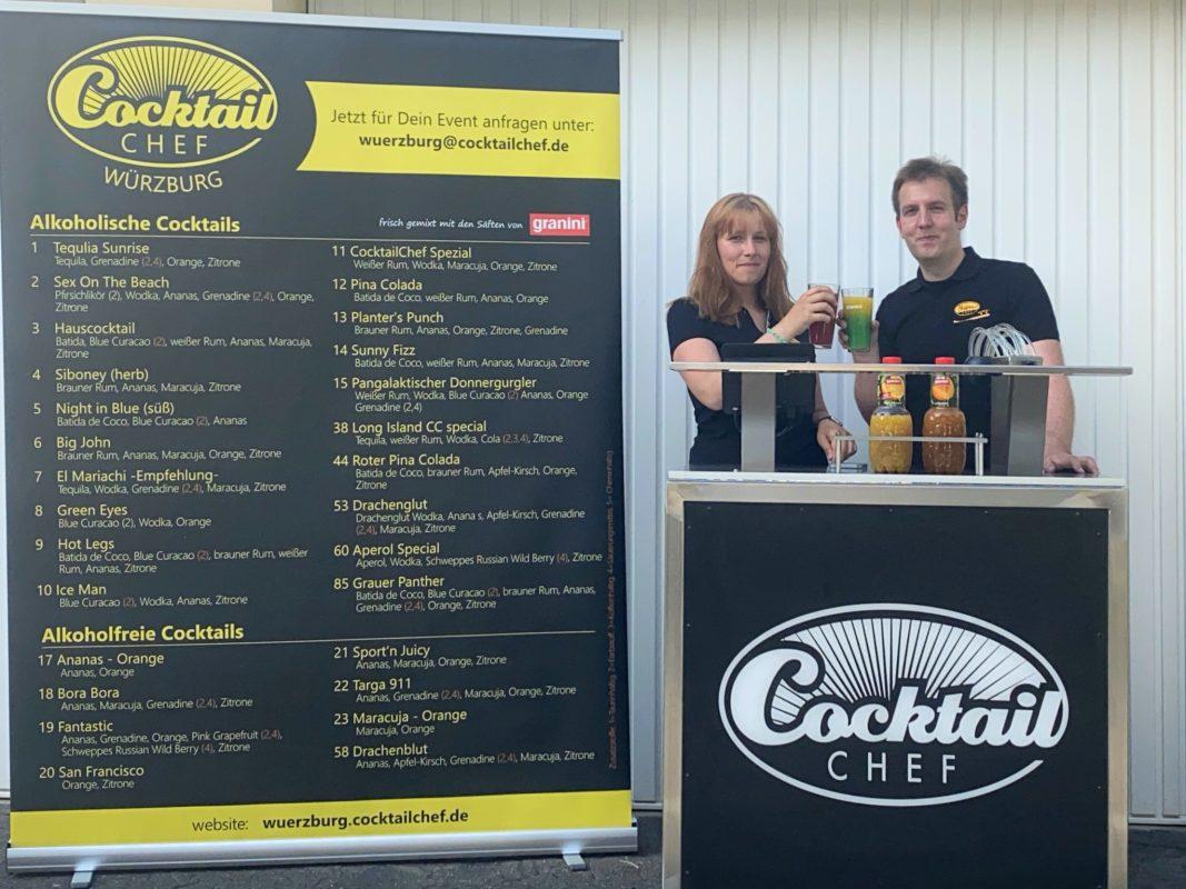 Lena Schneider und Matthias Dürrnagel betreiben Würzburgs erste Cocktailmaschine. Foto: Cocktailchef Würzburg