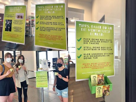 Alle Besucherinnen und Besucher der Mensa können sich einen Sticker mitnehmen, die direkt am Eingang des Studentenhauses ausgelegt sind. Fotos: Jana Lauer, Zita Remelé