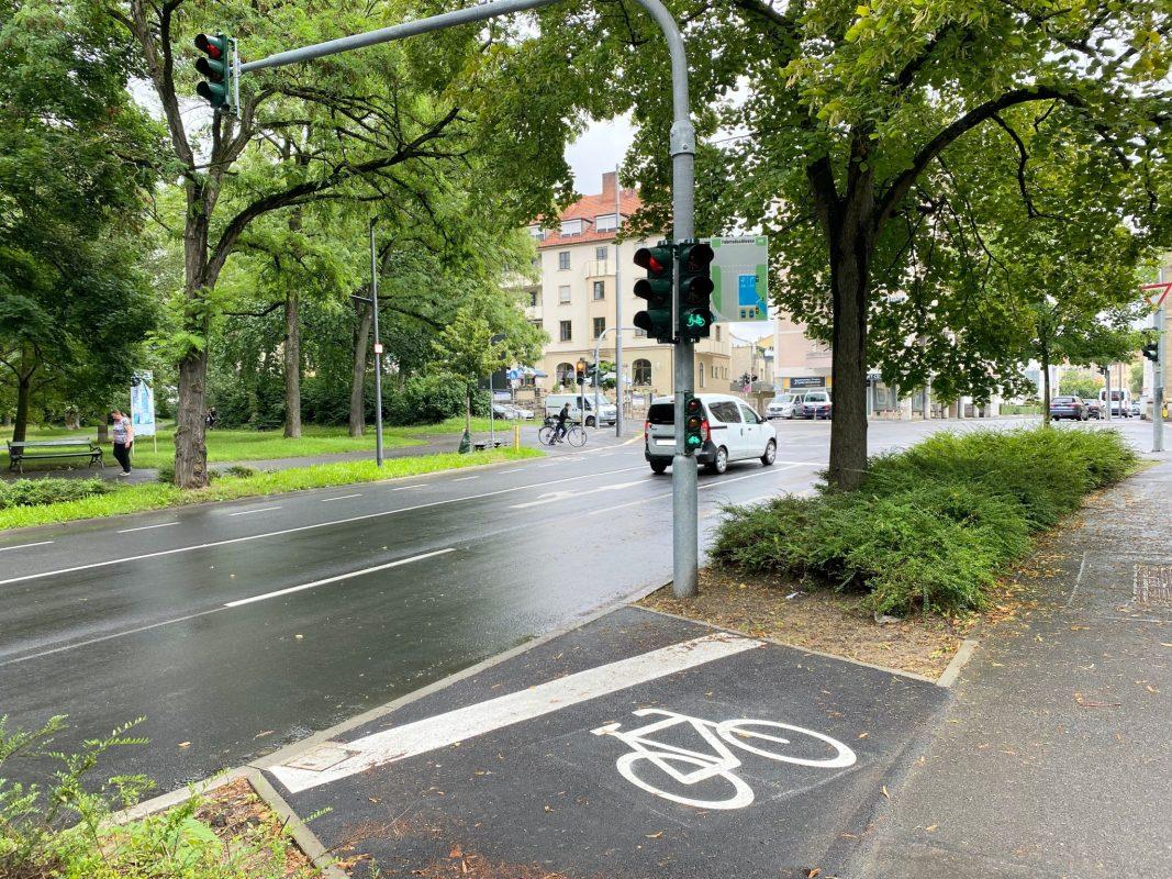 Eine Fahrradschleuse am Rennweg. Foto: Jessica Weiß