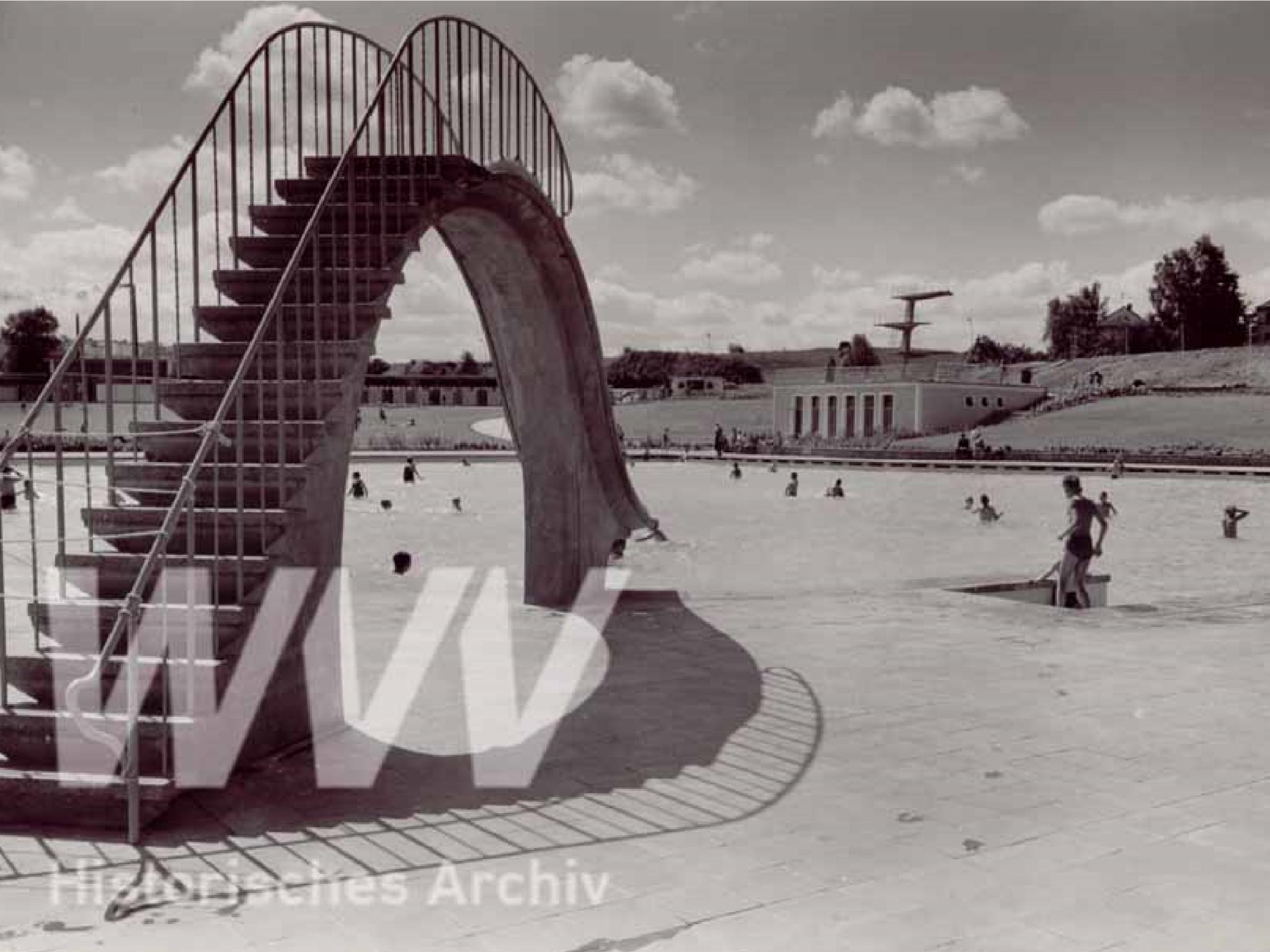 Eine historische Aufnahme des Dallenbergbads im Jahr 1956. Foto: Historisches Archiv der WVV.