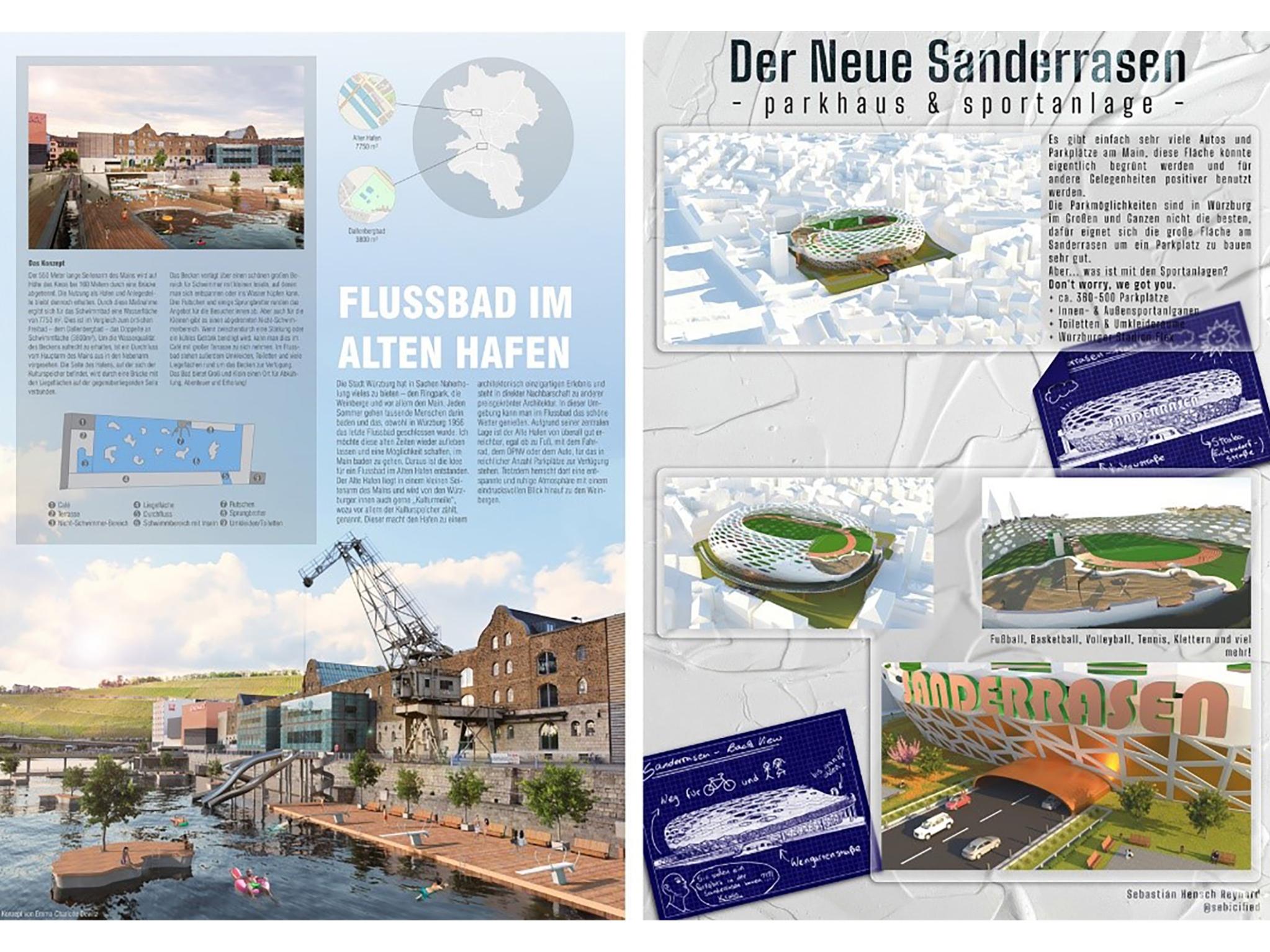 Ob ein Flussbad im Alten Hafen oder eine futuristische Park- und Sportanlage in der Sanderau – die Studierenden haben ihrer Kreativität keine Grenzen gesetzt. Foto: Anja Legge