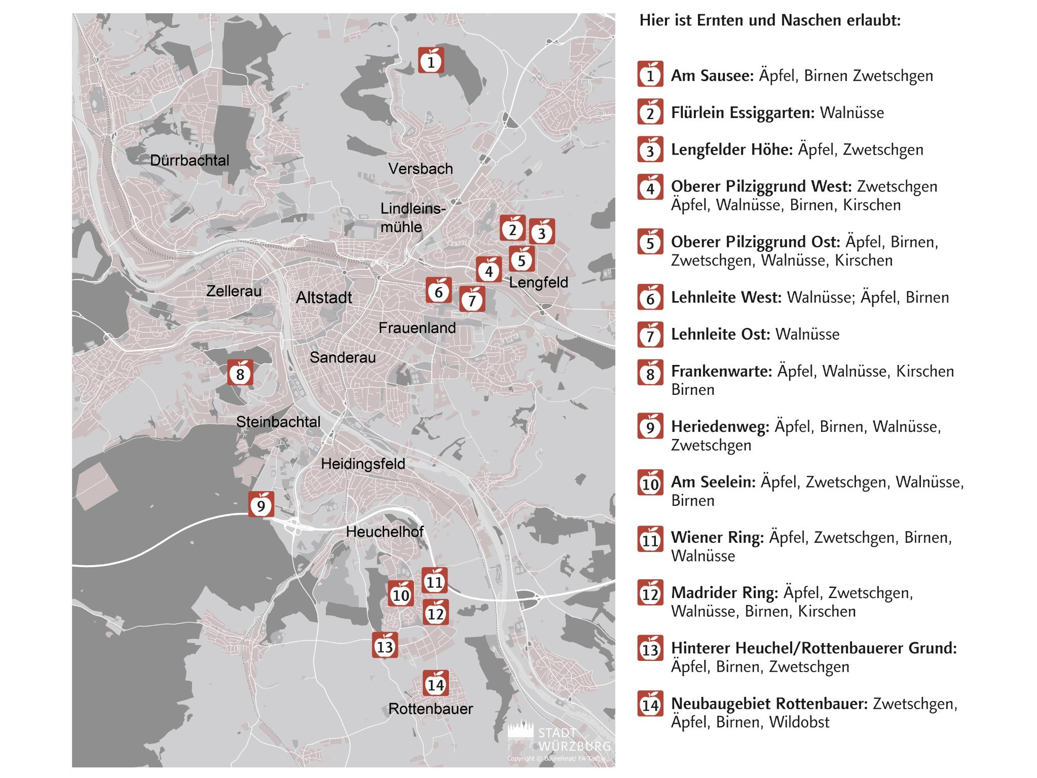 Lageplan der 14 städtischen Flächen, auf denen zum Ernten eingeladen wird. Grafik: Stadt Würzburg, FB Tiefbau und Verkehrswesen