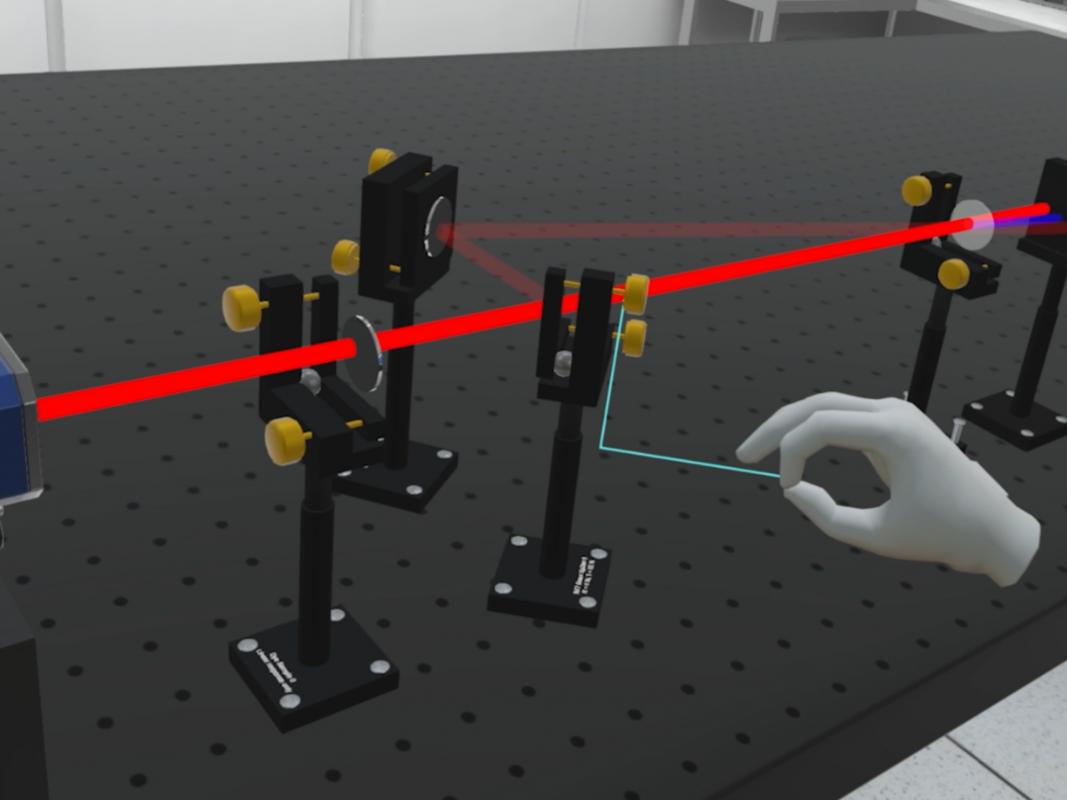 Blick ins virtuelle Labor: Zum Bildausschnitt ist ein zweiminütiger Videofilm des virtuellen Laser-Labors unter https://go.uniwue.de/femtopro verfügbar. Foto: Stefan Müller / Universität Würzburg