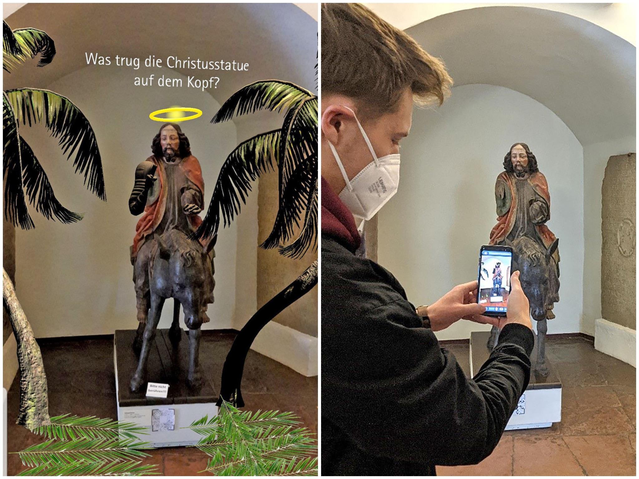 Was trug die Christus-Statue auf dem Kopf? Mithilfe der AR-App von Jonas Roth können Besucherinnen und Besucher des Museums für Franken diese Frage beantworten. Foto: Stefan Sauer, FHWS